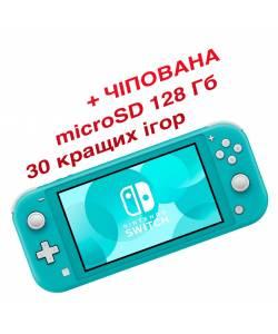 Nintendo Switch Lite Turquoise (Чипованная) + microSD 128 Гб + 30 лучших игр