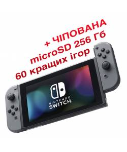 Nintendo Switch V2 with Grey Joy-Cons (Чіпована) + microSD 256 Гб + 60 кращих ігор
