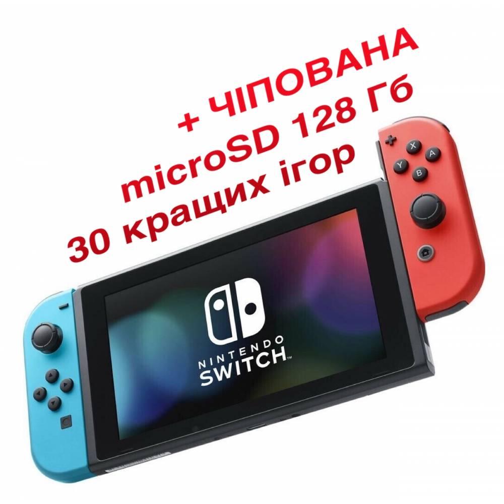 Nintendo Switch V2 with Neon Blue and Neon Red Joy‑Cons (Чипованная) + microSD 128 Гб + 30 лучших игр (Nintendo Switch V2) фото 2
