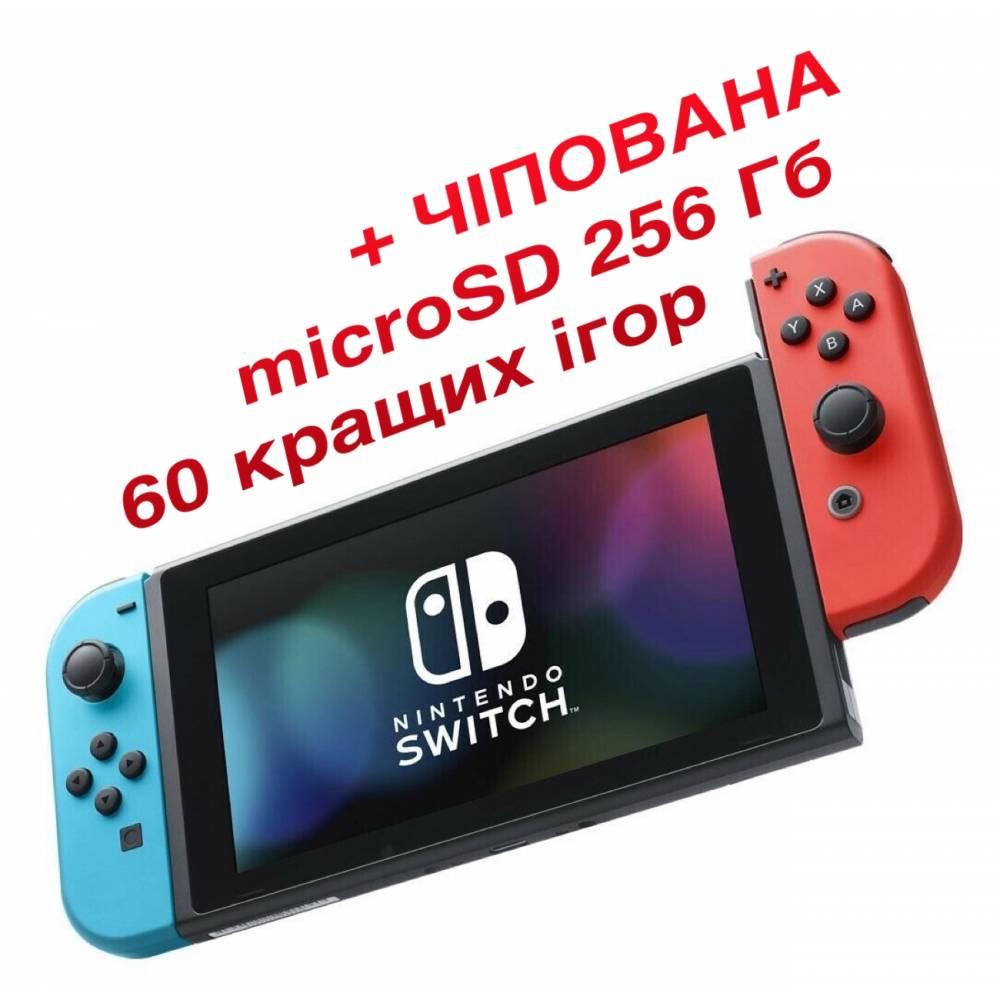 Nintendo Switch V2 with Neon Blue and Neon Red Joy‑Cons (Чипованная) + microSD 256 Гб + 60 лучших игр (Nintendo Switch V2) фото 2
