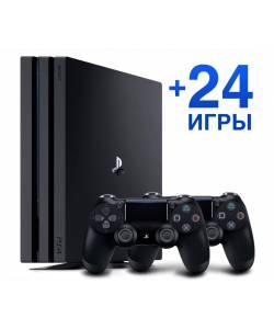 Sony Playstation 4 Pro 1 Тб + Dualshock 4 + 24 гри