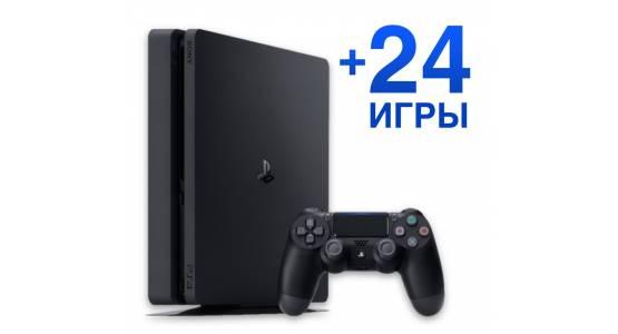 Акційна ціна на Sony PlayStation 4 Slim 1Tb з 24 іграми