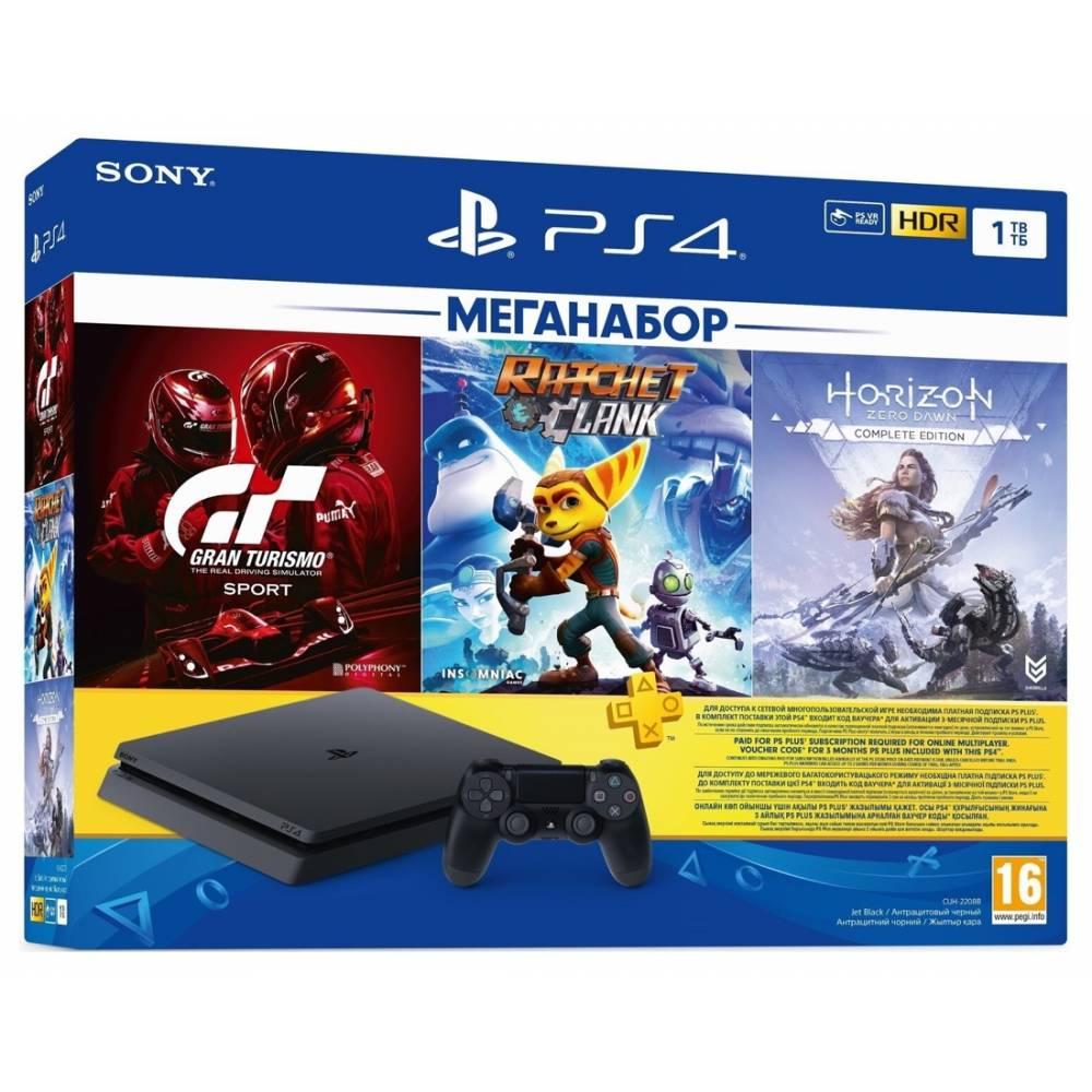Sony PlayStation 4 Slim 1 Тб + 3-місячна підписка PSPlus + Gran Turismo Sport: Complete Edition + Ratchet & Clank + Horizon Zero Dawn: Complete Edition (PS 4 Slim) фото 2