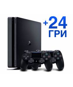Sony Playstation 4 Slim 1 Тб + Dualshock 4 + 24 игры