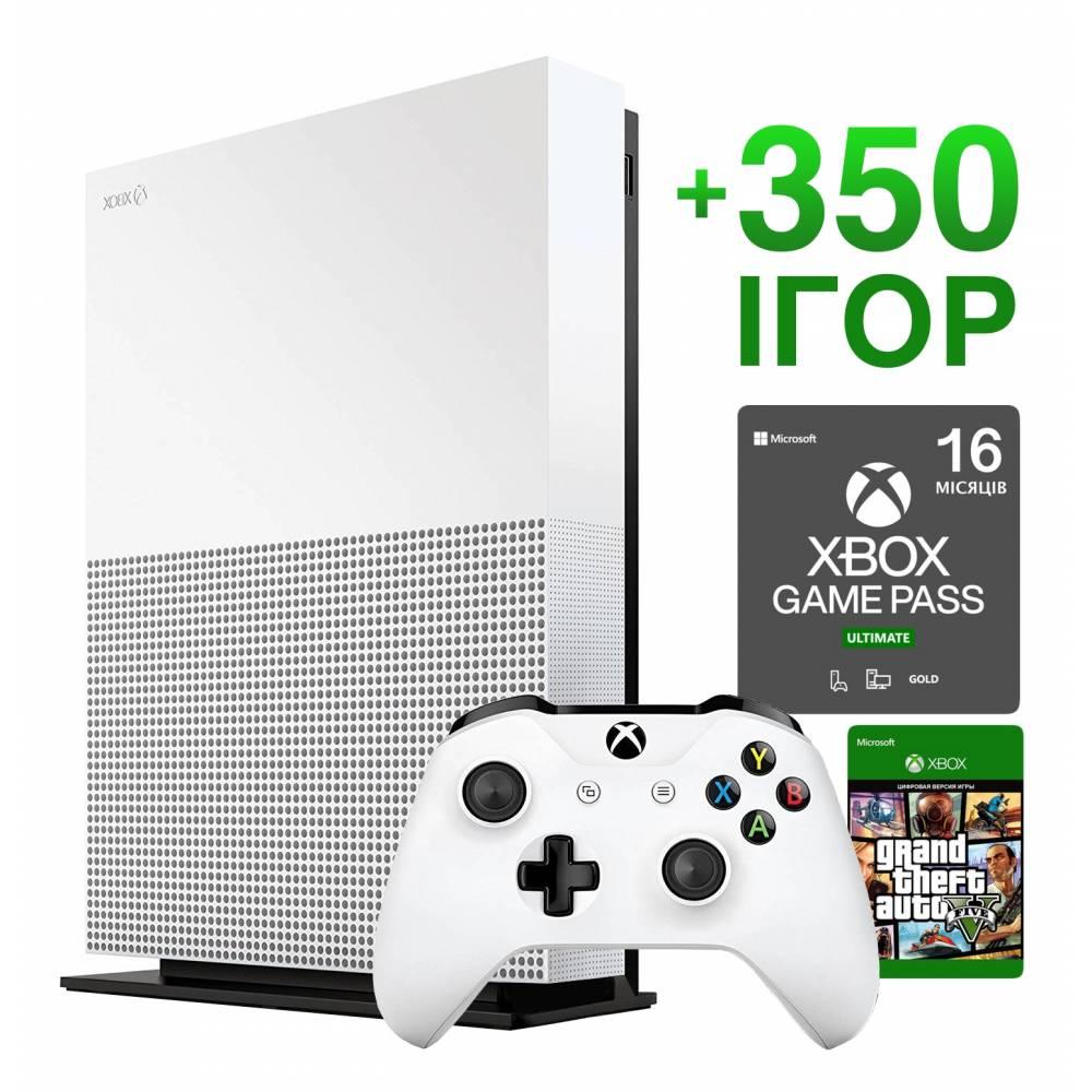 Б/У Microsoft Xbox One S 1 Тб All-Digital Edition + 350 игр на 16 месяцев + GTA 5 Навсегда (Гарантия 6 месяцев) (Xbox One S All-Digital) фото 2
