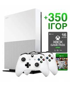Б/В Microsoft Xbox One S 1 Тб All-Digital Edition +  Новий Xbox Series Wireless Controller + 350 ігор на 16 місяців + GTA 5 Назавжди (Гарантія 6 місяців)